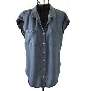 Jachs Girlfriend Chambray Blue Tencel Blouse Top